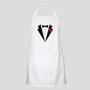Funny Tuxedo [red rose] Apron